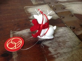 Little white ceramic reindeer lying down knit scarf color choice dept 56 New image 4