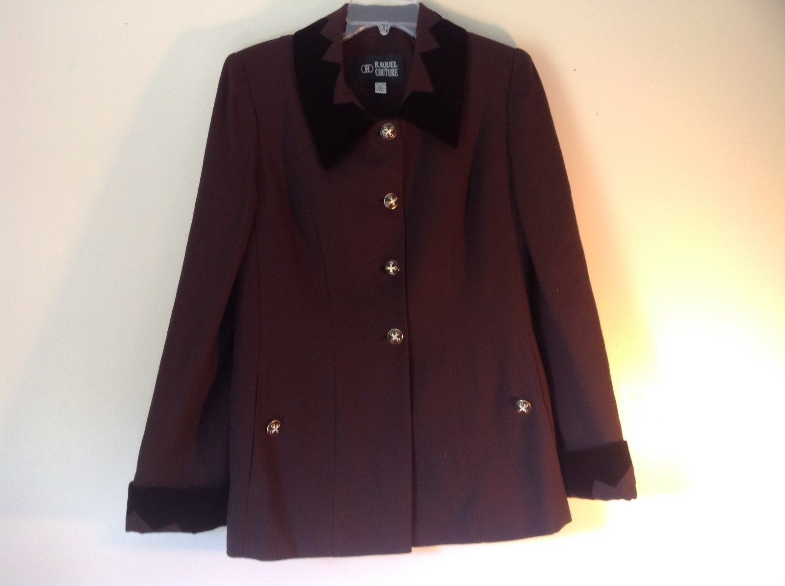 Raquel Couture Brown Blazer Four Fancy Button Closure No Size Tag Made in USA