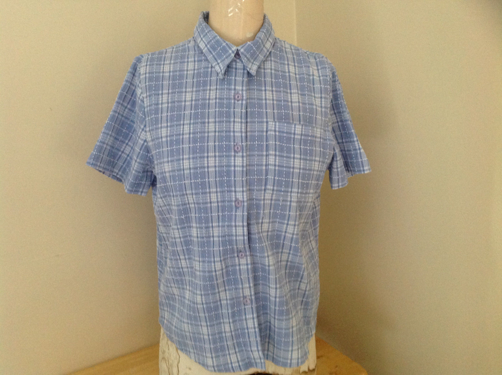 Peri-Wrinkle White Grid Pattern Shirt Made in China Alfred Dunner Size 12P