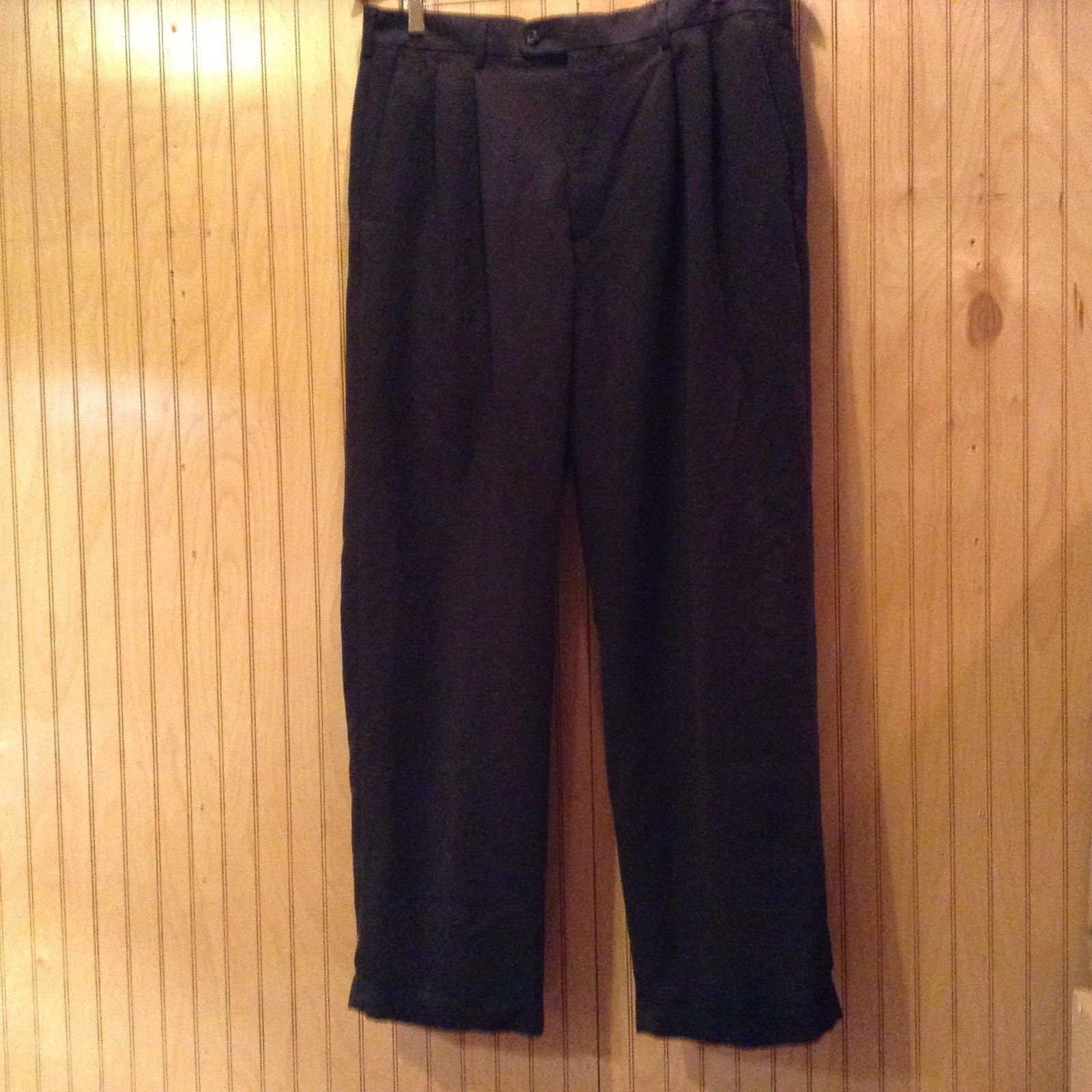 Perry Ellis Portfolio Black Pleated Front Dress Pants Size 36 by 32