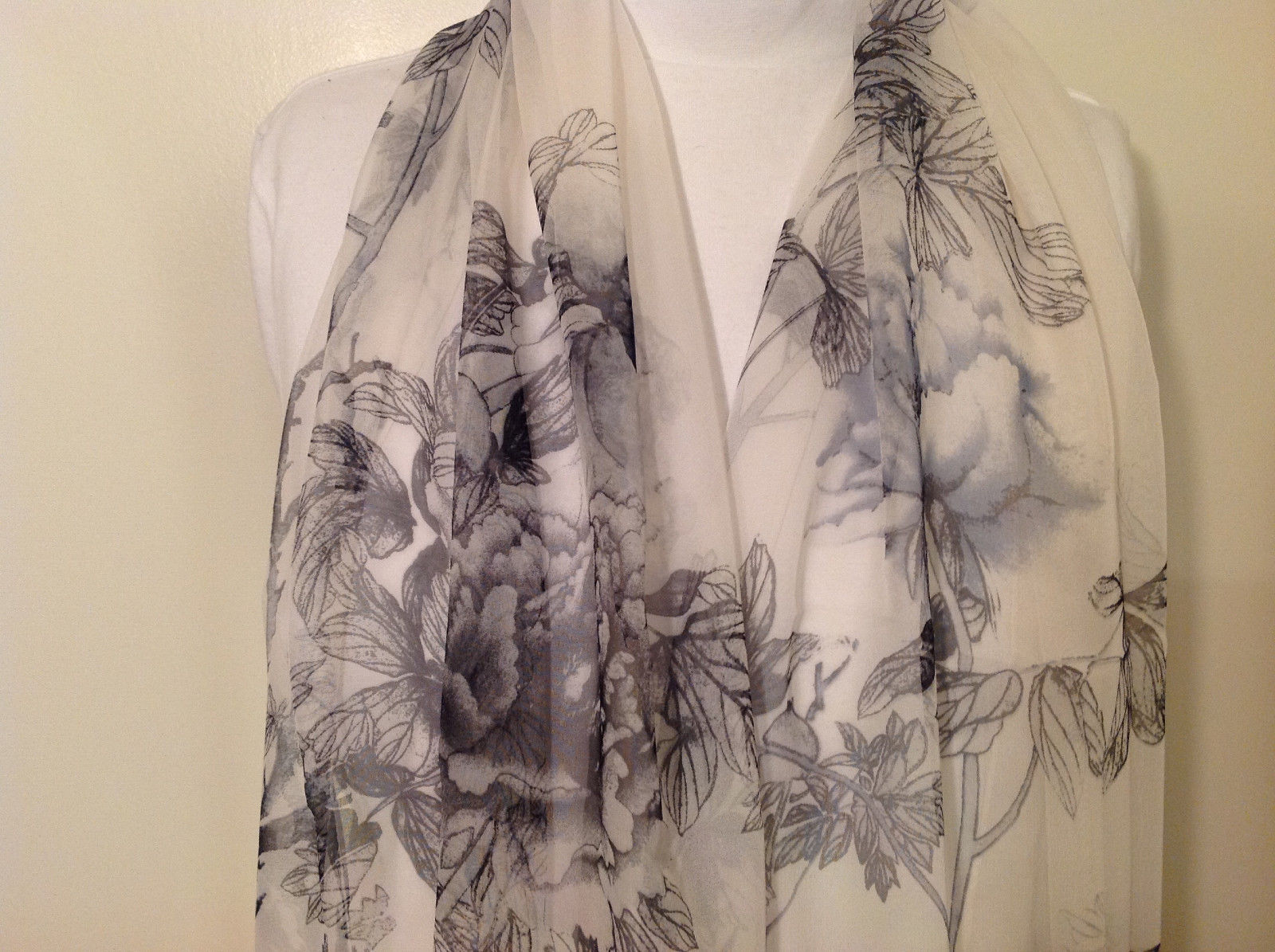 Peony Summer Sheer Fabric Scarf, pastel colors of your choice