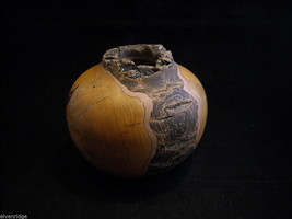 Persimmon Knot Turquoise Decorative Wooden Vase Signed HTH OOAK Artisan - $2,500.00