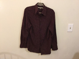 Perry Ellis Mens Maroon Plaid Button Down Viscose Casual Shirt, Size M