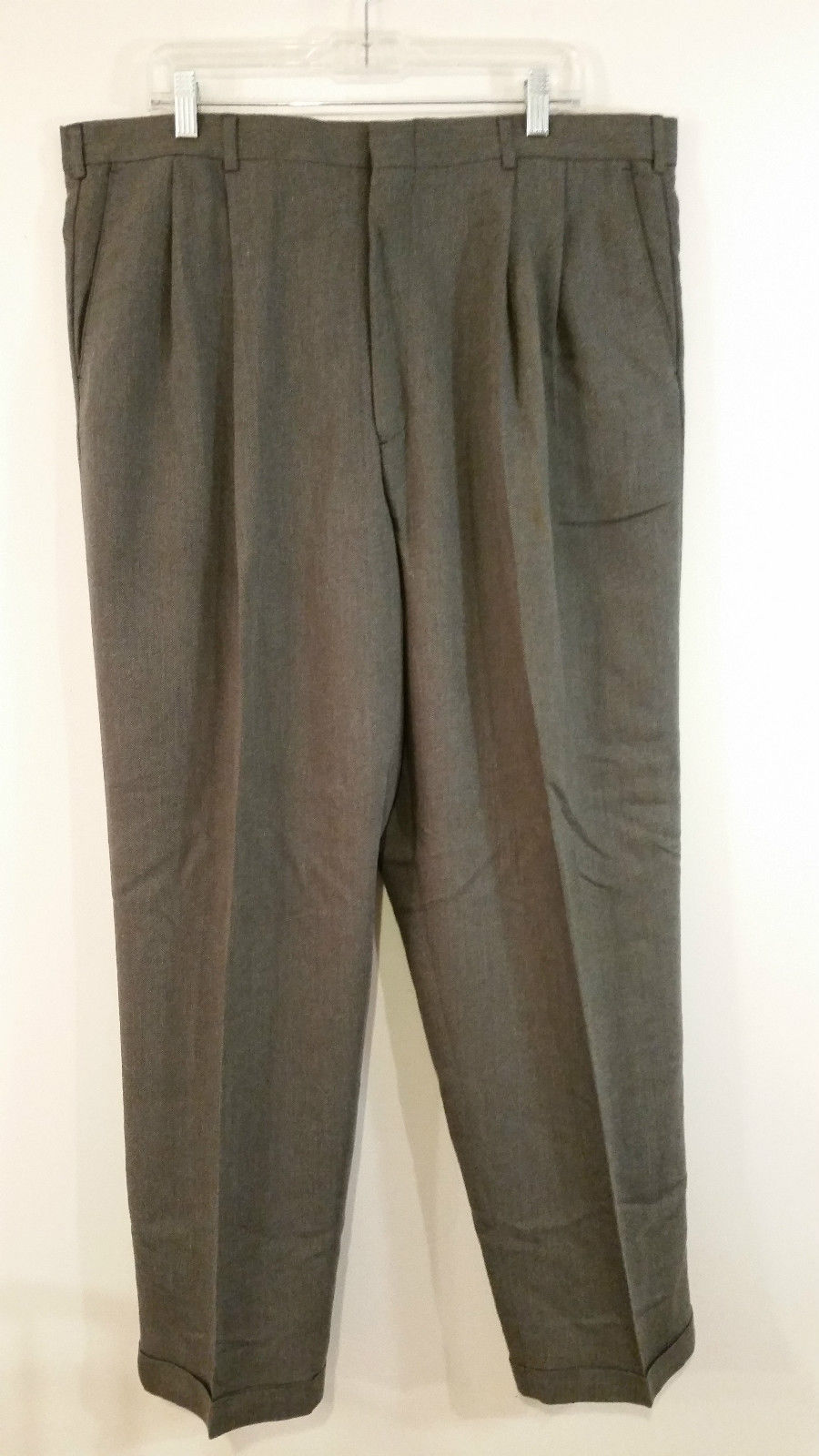 Perry Ellis Portfolio Dark Gray Pleated Front Dress Pants Size 40W by 32L