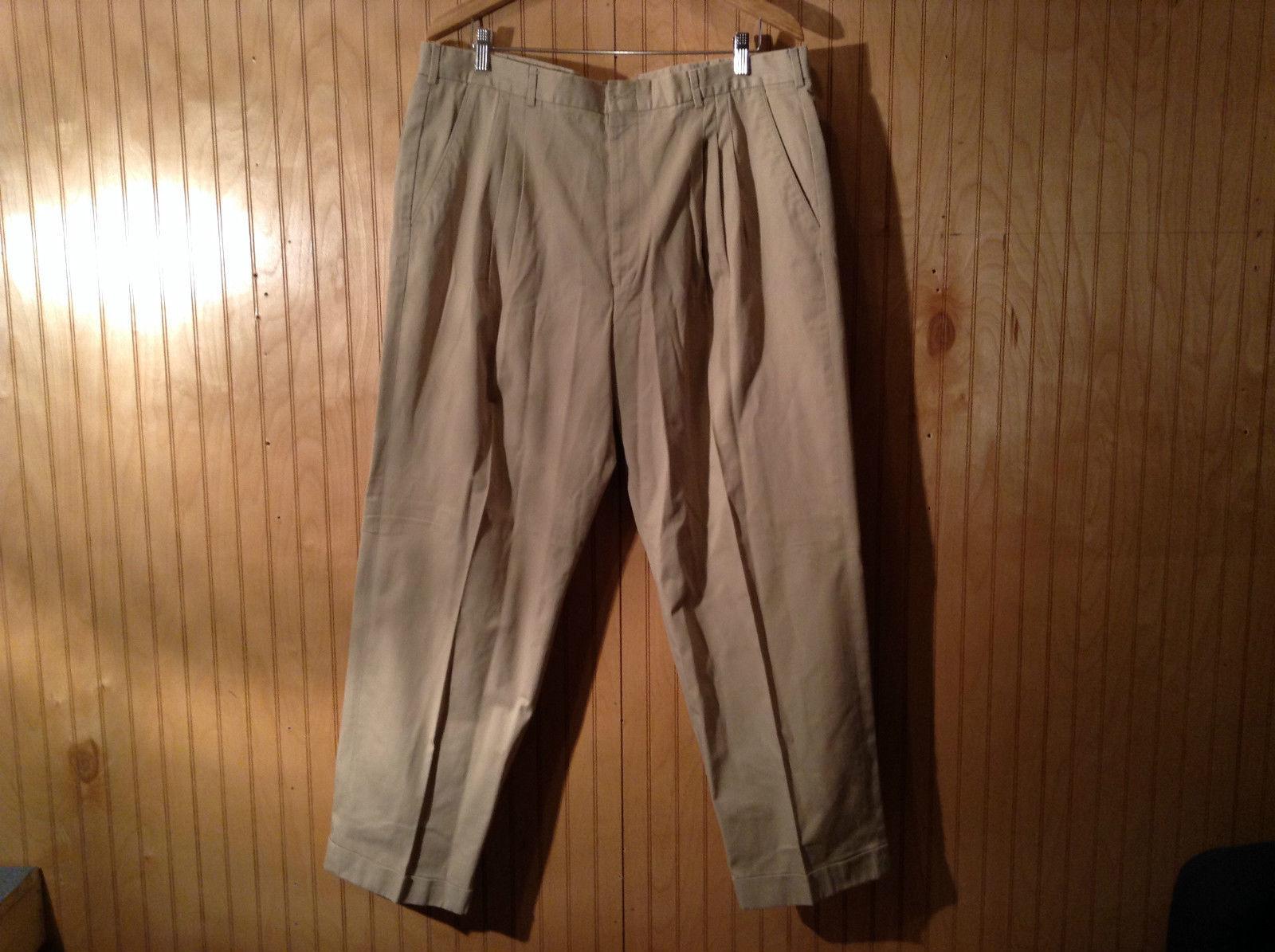 Perry Ellis Portfolio Pleated Front Dress Pants Tan Size 40 Good Condition