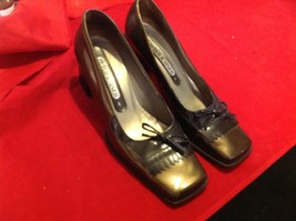 "Peter Kalser 5 1/2 Made  in Germany black sandals 4"" heel golden brown"