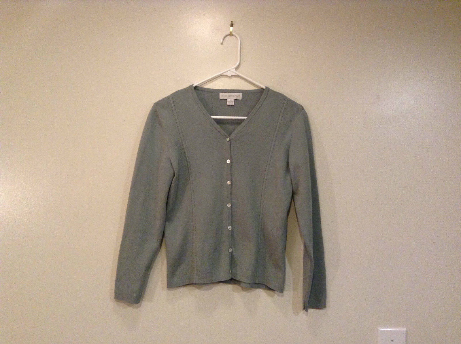 Petite Sophisticate Gray Long Sleeve Button Up Sweater Good Condition Size S