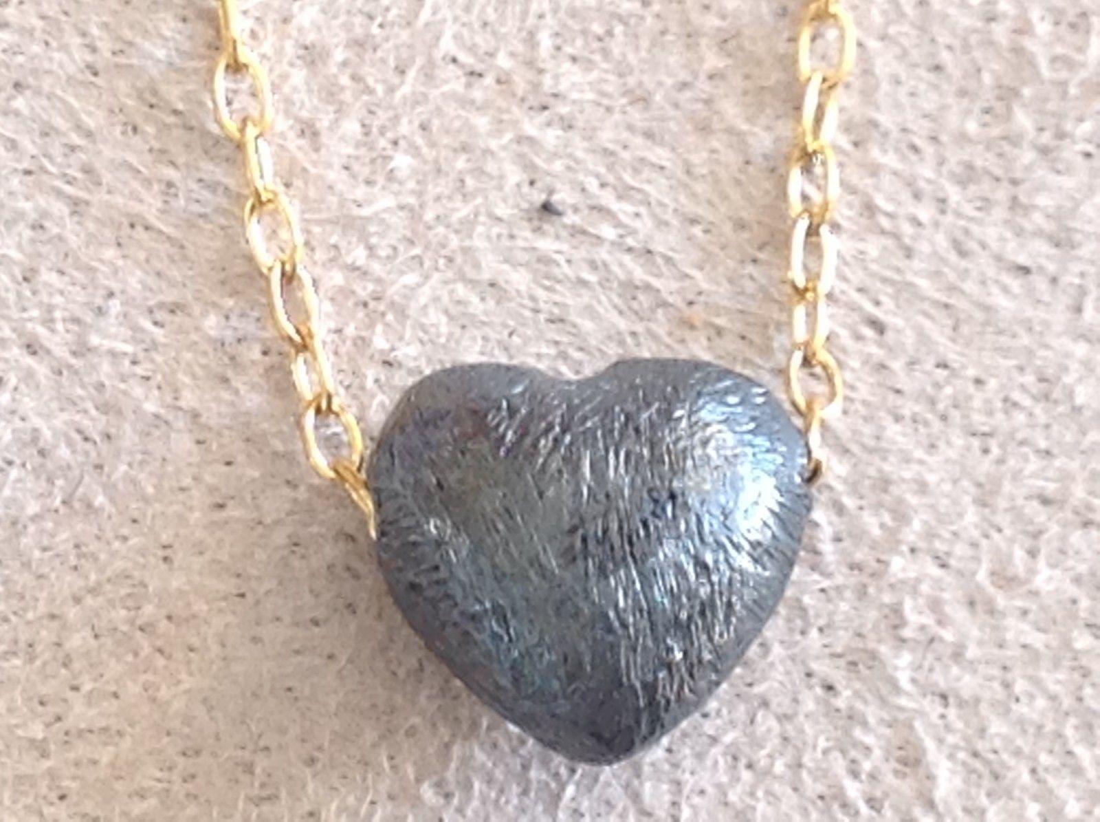 Petite Zina Kao gunmetal Black Oxidized silver Heart Necklace w gold chain USA