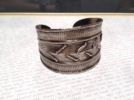 Pewter Base Metal Handcrafted Hammered Wide Cuff Bracelet with Relief