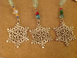 Pewter suncatcher ornament with glass beads snowflake hand made USA artist