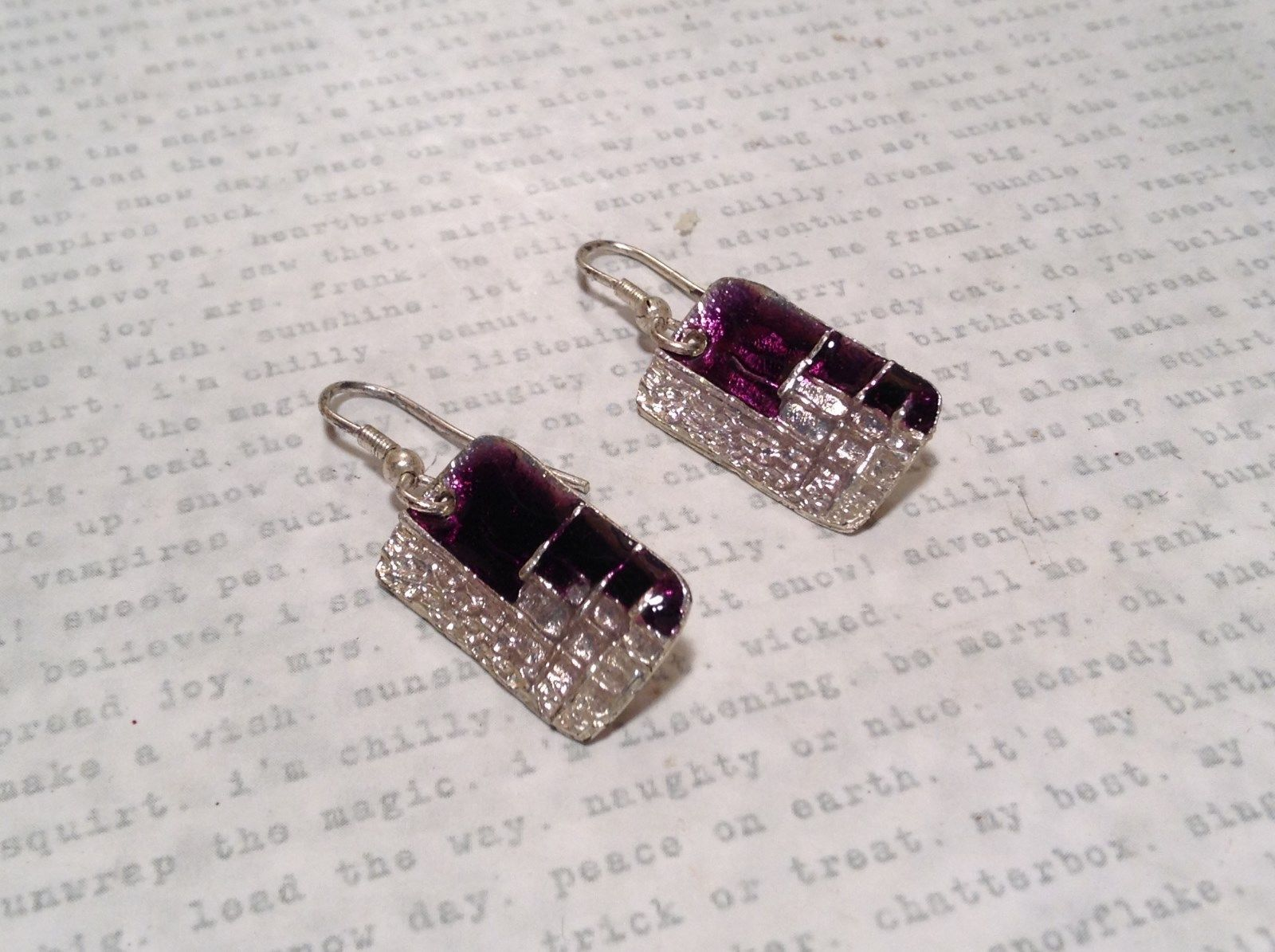 Pewter and Enamel Handcrafted Earrings Purple with Clear Glossy Finish
