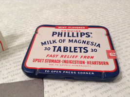 Phillips Milk of Magnesia Tin w Tablets Great Condition Vintage Collectible only image 1
