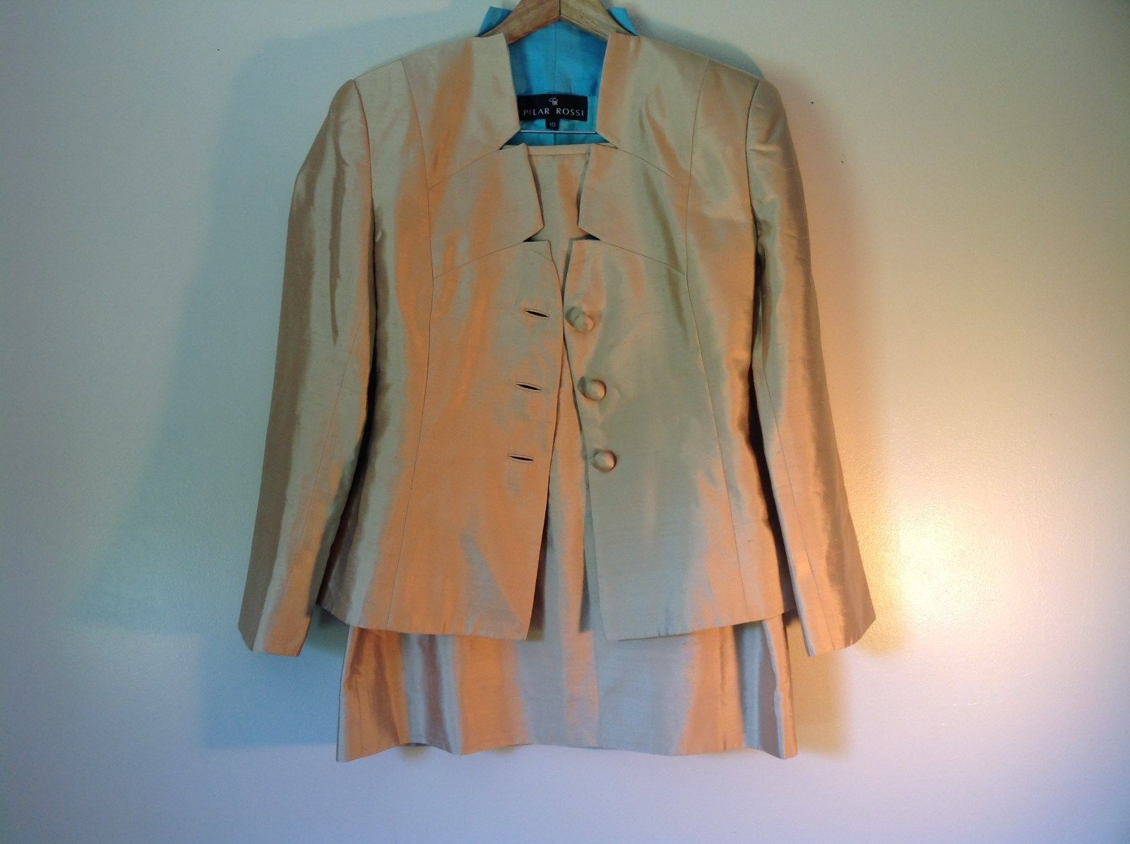 Pilar Rossi Size 10 Light Brown Skirt and Blazer Suit 3 Button Closure on Jacket