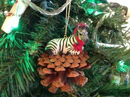 Pine Cone Pet Ornament Zebra Pine Cone Pet w real fabric scarf
