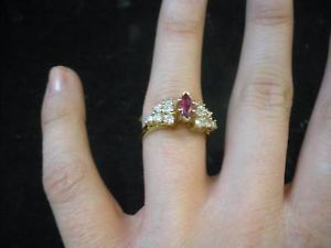 Pink Amethyst Ring with 12 Diamonds 10 Karat gold
