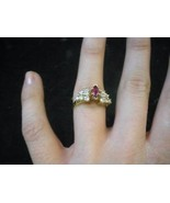Pink Amethyst Ring with 12 Diamonds 10 Karat gold - $247.50