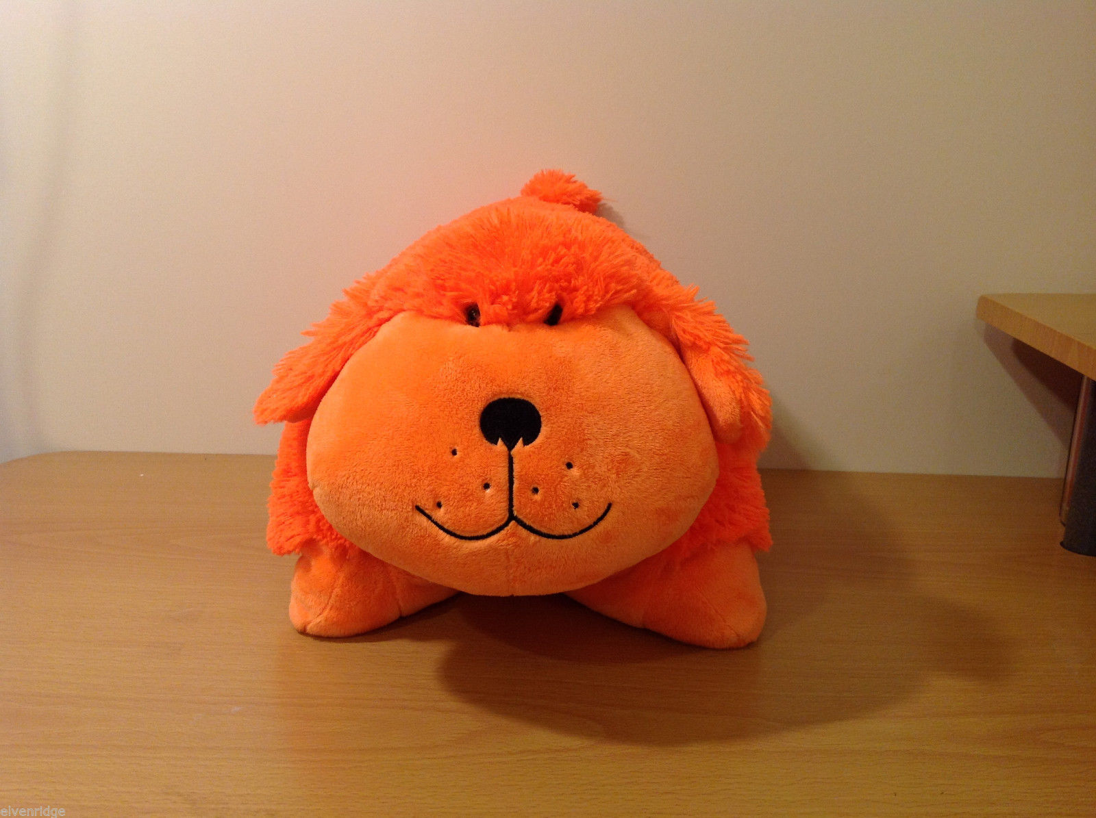 Pillow Pets Bright orange DOG smiling face 100% polyester 18 in
