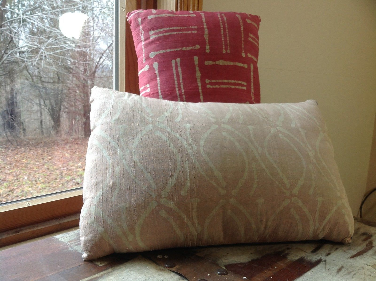 Pillow Set Red Pattern and Blue Light Pink Pattern Pillow with Zipper on Side
