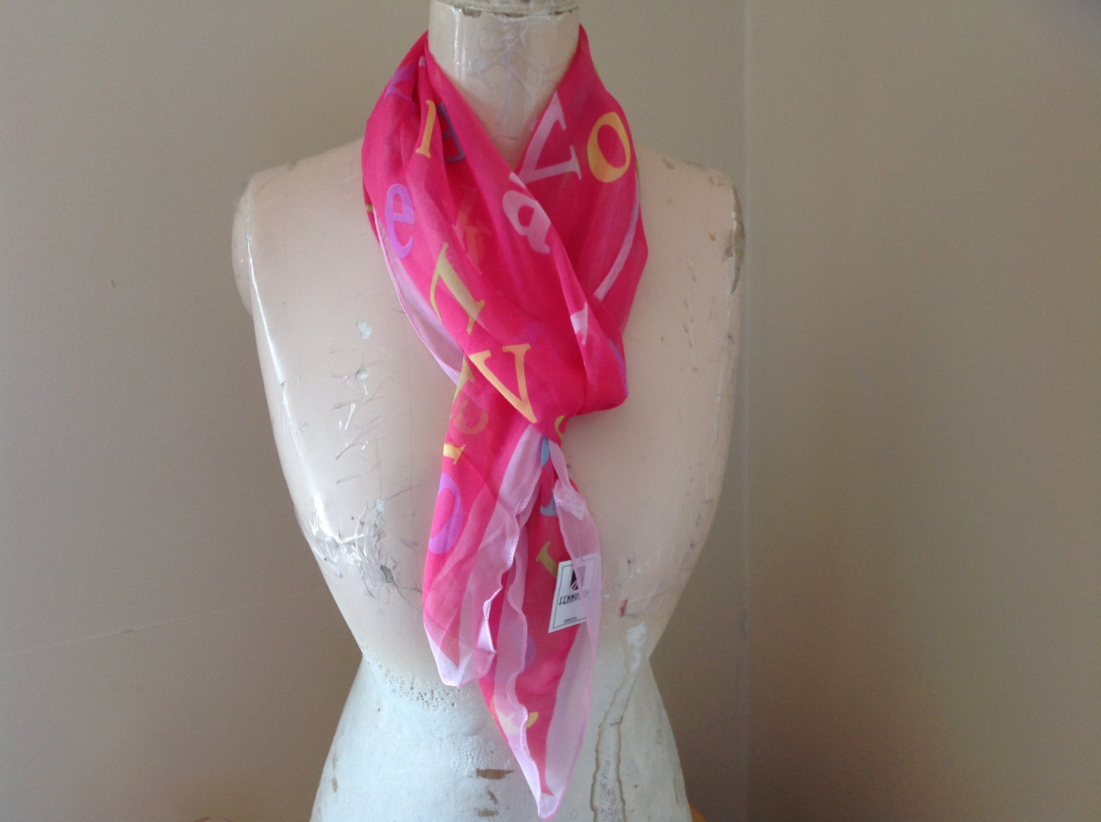 Pink Blue Yellow Alphabet Fashion Scarf Light Weight Material Fennysum
