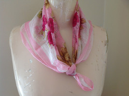 Pink Creme Flower Design Square Fashion Scarf Light Material Beautiful Design