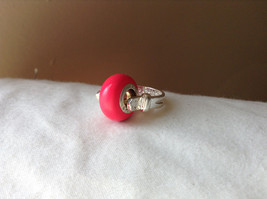 Pink Bead Silver Ring Size 3.25 by Beadit