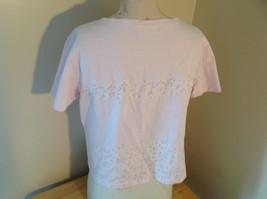 Liz Claiborne Liz Sport Pink T-Shirt with Tiny Flower Designs Bottom and Chest image 4