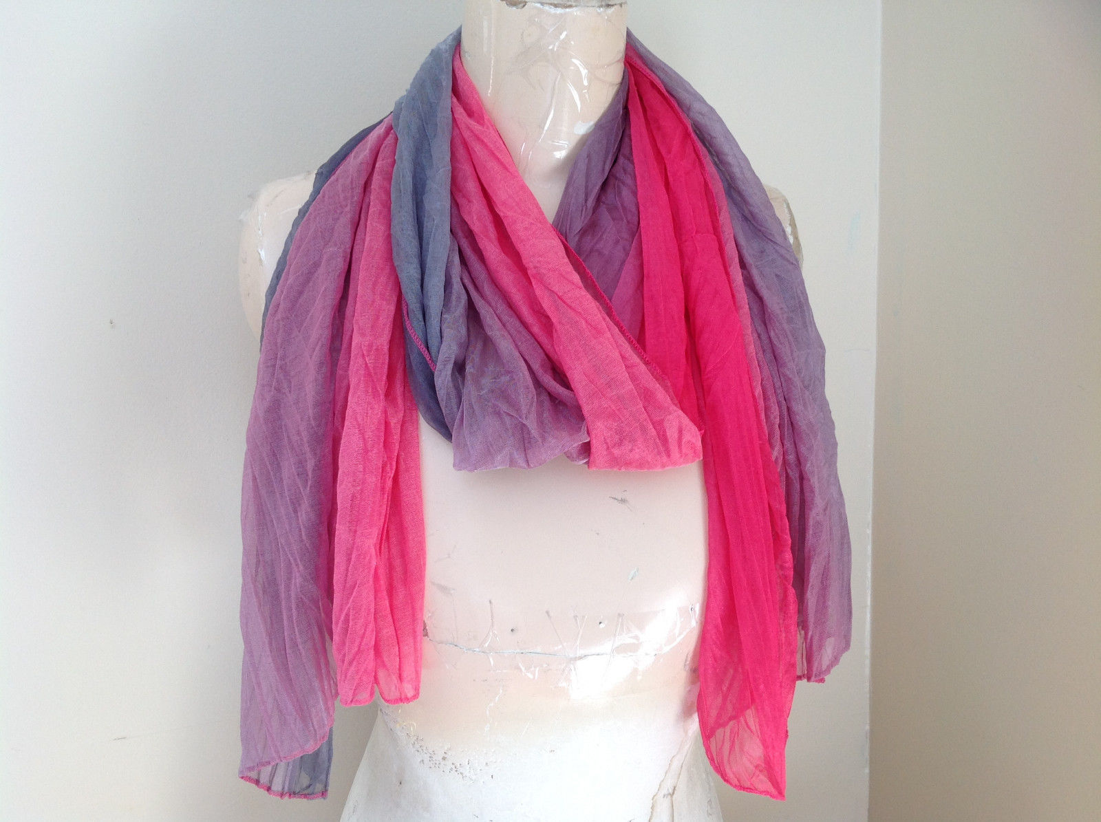 Pink Gray Watercolor Scrunched Scarf 66 Inches Long 26 Inches Wide