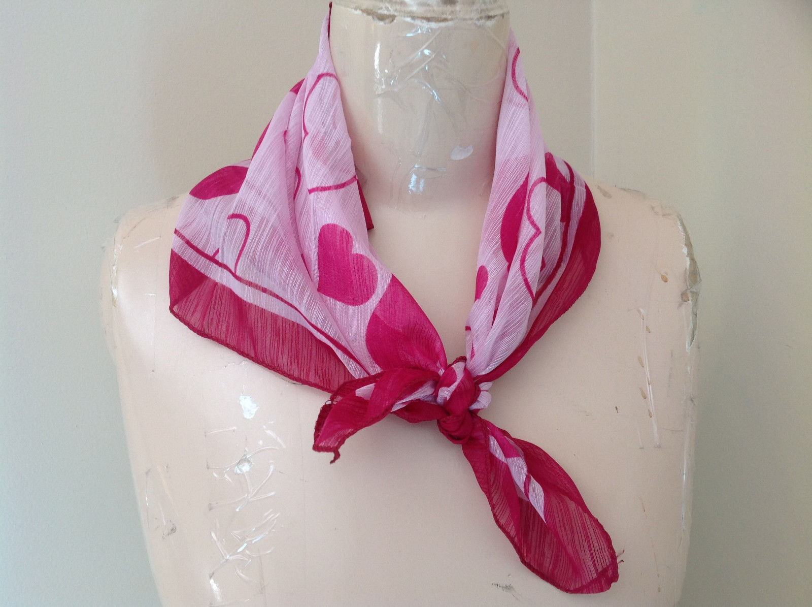 Pink Heart Design Square Fashion Scarf Lightweight Made in China