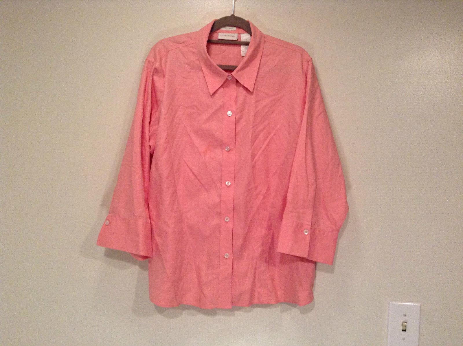 Pink Long Sleeve Button Up Liz Claiborne 100 Percent Cotton Shirt Size 16