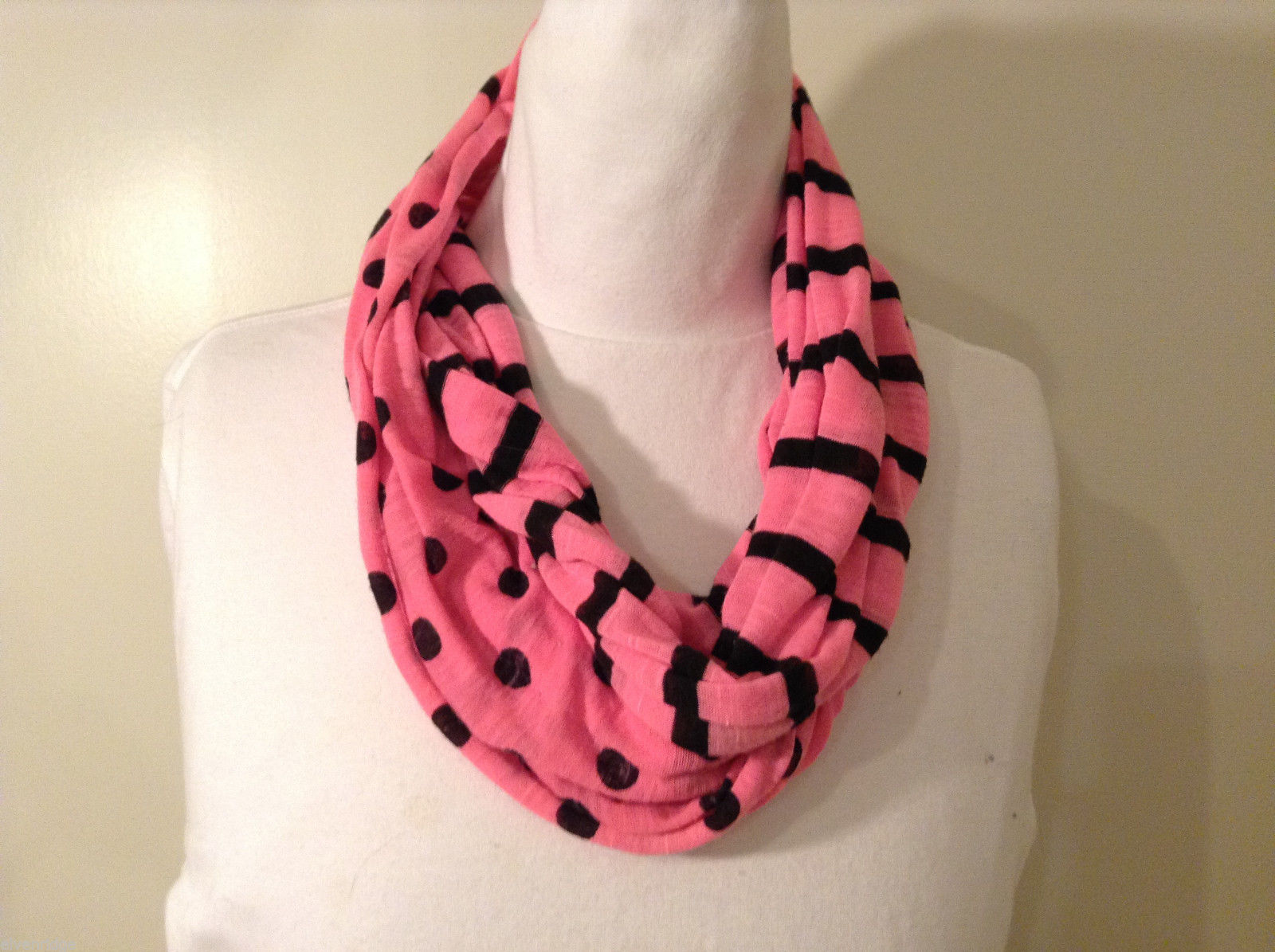 Pink and Black Infinity Scarf with Polka Dots and Stripes
