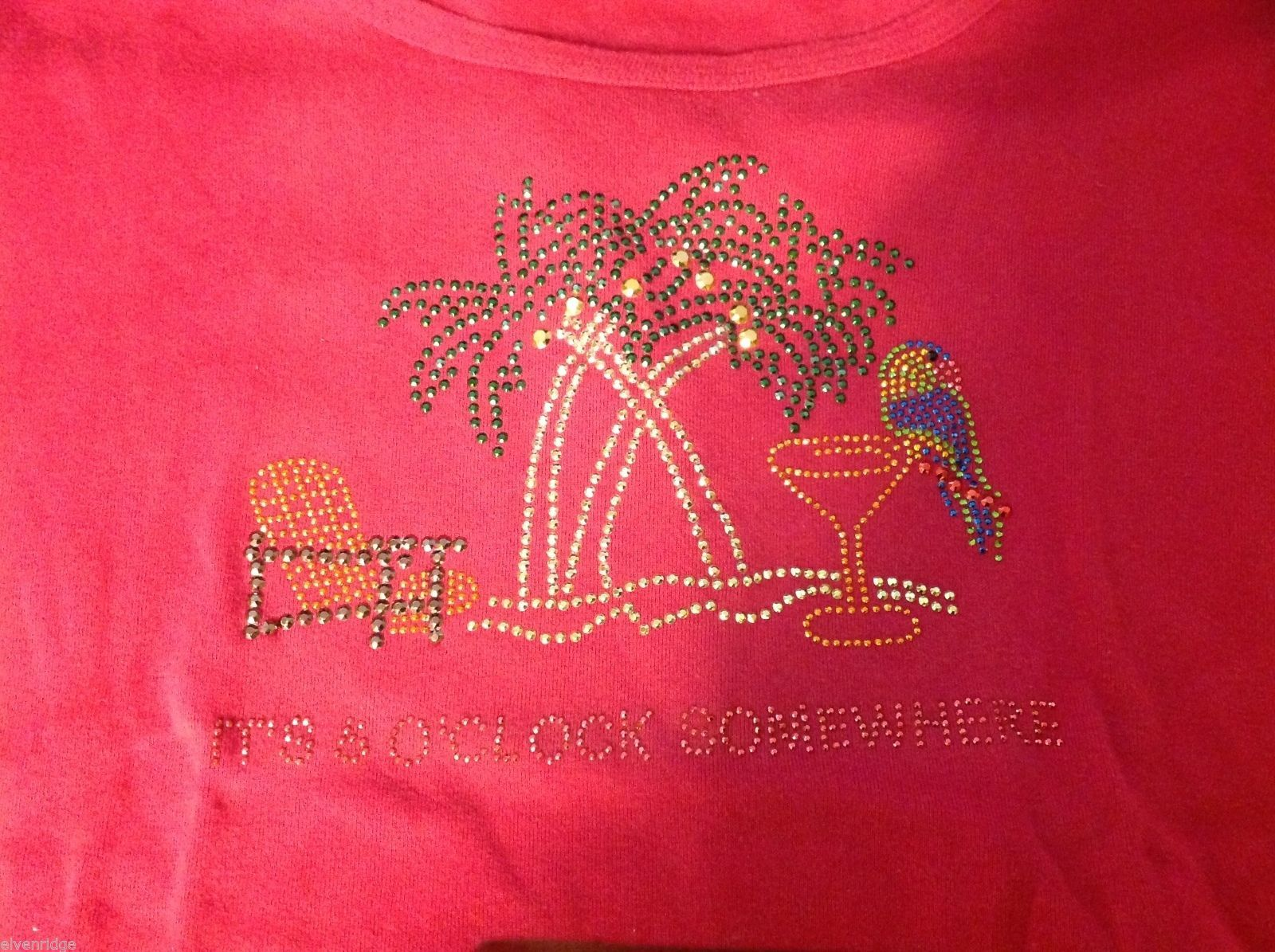 Pink t shirt it's five o'clock somewhere studded sparkles