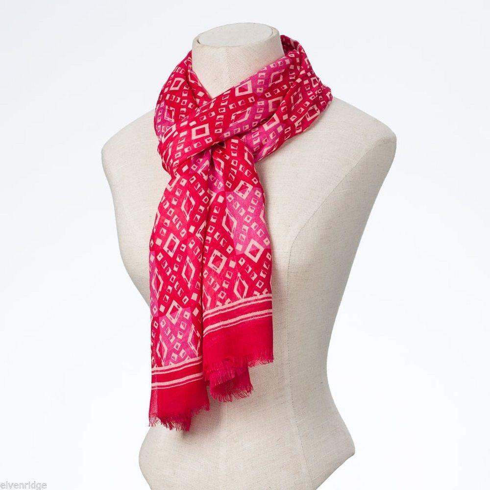 Pink tonal batik style diamond-pattern rayon scarf