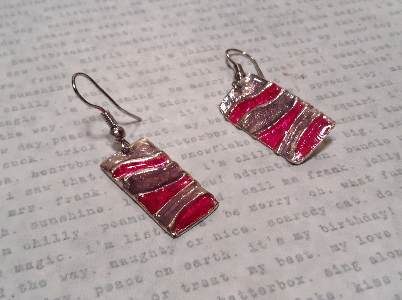 Pink and Gray Waves Glossy Finish Pewter and Enamel Handcrafted Earrings