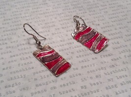 Pink and Gray Waves Glossy Finish Pewter and Enamel Handcrafted Earrings image 1