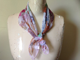 Pink Orange Green Tropical Flowered Square Fashion Scarf by Hanfei NO TAGS image 1