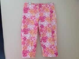 Pink Orange White Flower Capri Pants Side Zip Closure Liz Claiborne Size 10