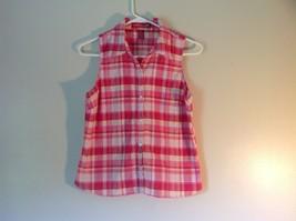 Pink Yellow Red Plaid Gloria Vanderbilt Sleeveless Button Down Blouse Size Small