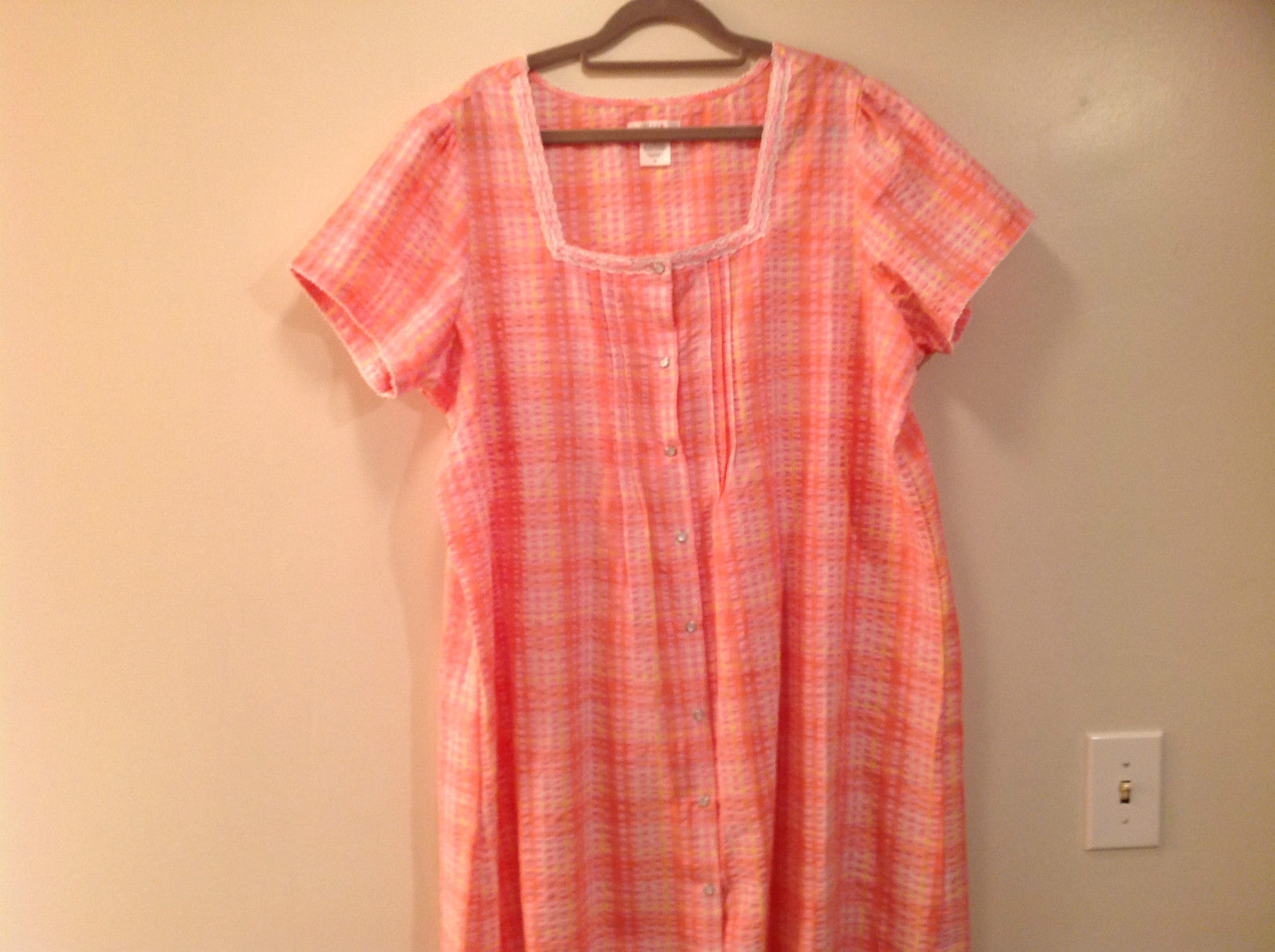 Pink Orange Button Down Short Sleeve Dress Light Material Size 1X Cotton Blend