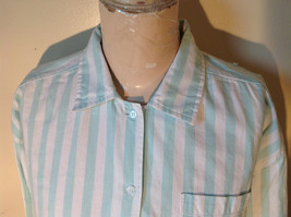 Liz Thomas Button Down Light Turquoise and White Striped Shirt Casual Size M image 2