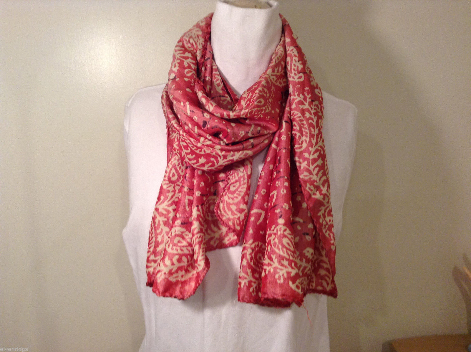 Pink and White Floral Paisley Pattern Scarf