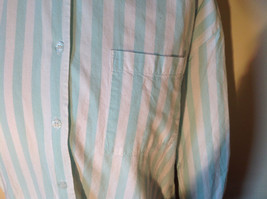 Liz Thomas Button Down Light Turquoise and White Striped Shirt Casual Size M image 3