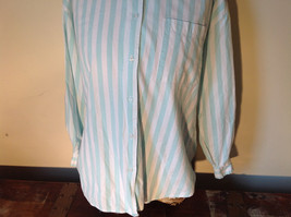 Liz Thomas Button Down Light Turquoise and White Striped Shirt Casual Size M image 4