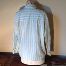 Liz Thomas Button Down Light Turquoise and White Striped Shirt Casual Size M image 5