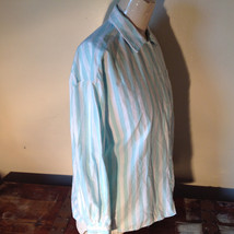 Liz Thomas Button Down Light Turquoise and White Striped Shirt Casual Size M image 6