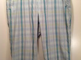 Liz Golf Audra Size 16 Light Blue Green Plaid Casual Pants image 5