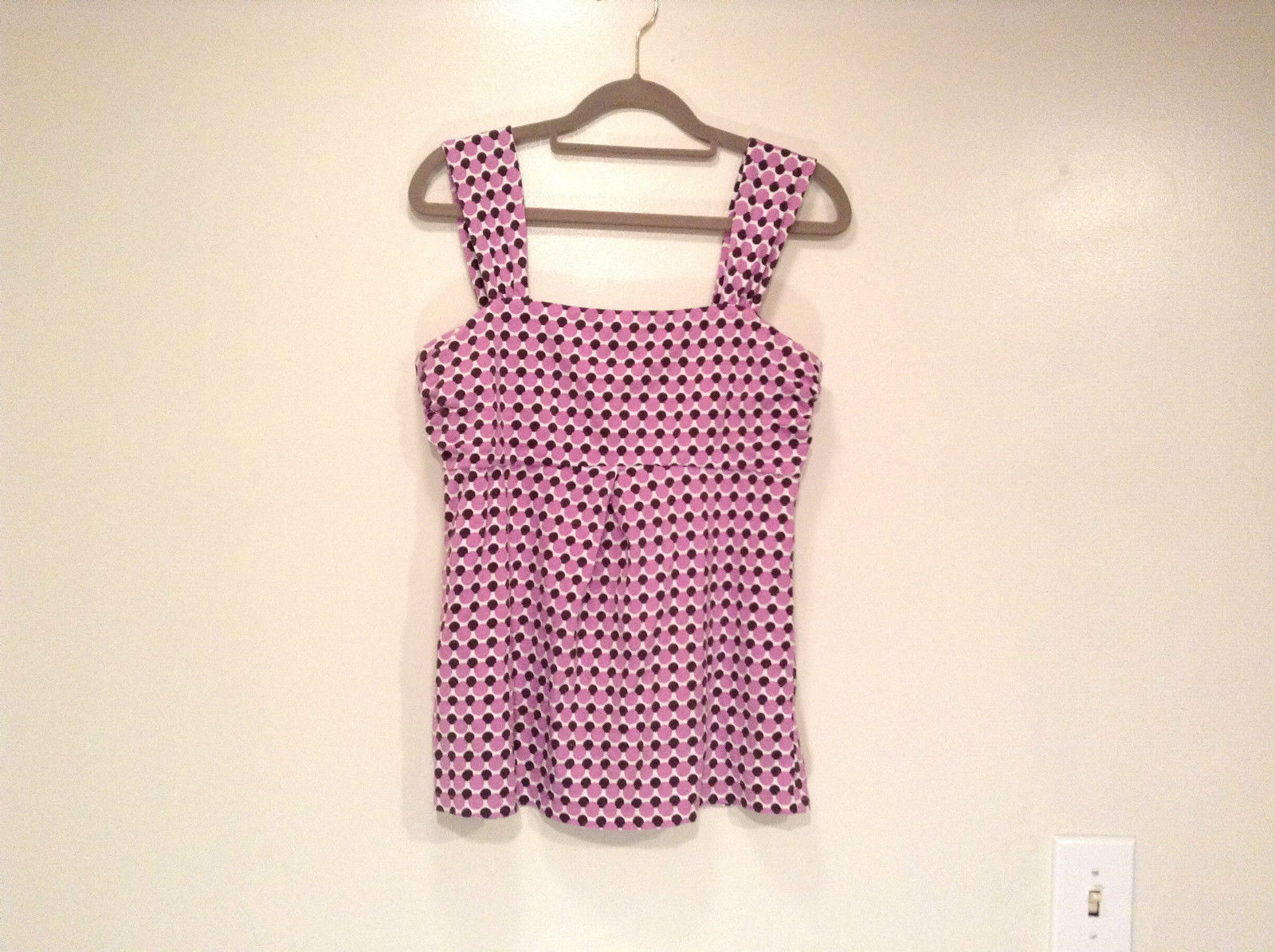 Pink and Brown Dotted Sleeveless Ann Taylor Top Size Medium Strap at Shoulders