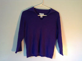 Plain Purple Long Sleeve Collared Top by Worthington Essentials Size Medium image 1