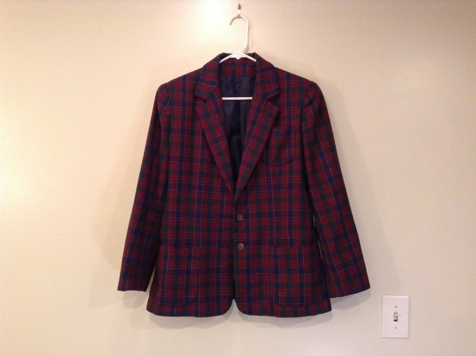 Plaid with Dark Red Green Dark Blue Stripes Blazer Handmade No Tags Pockets