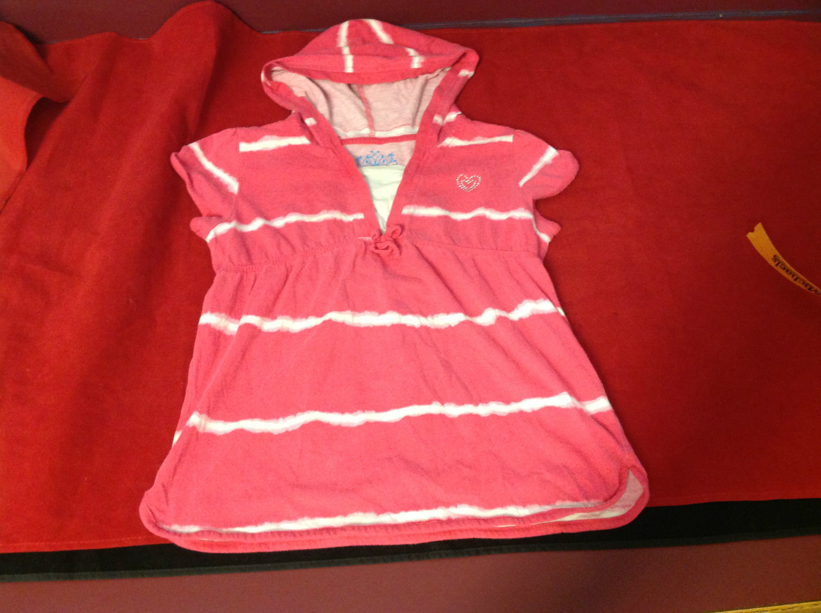 """""""Place"""" Girls Pink Hooded V-Neck Shirt Pink with White Stripes Size Medium 7/8"""
