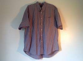 Plaid Button Down Casual Short Sleeve Shirt by Bass Blue and Orange Size Large